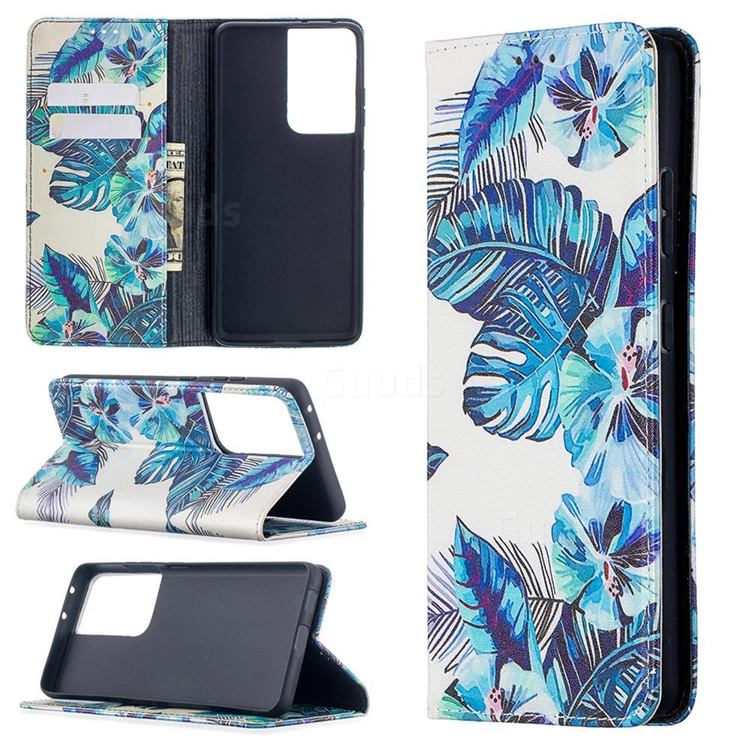 Blue Leaf Slim Magnetic Attraction Wallet Flip Cover for Samsung Galaxy S21 Ultra / S30 Ultra