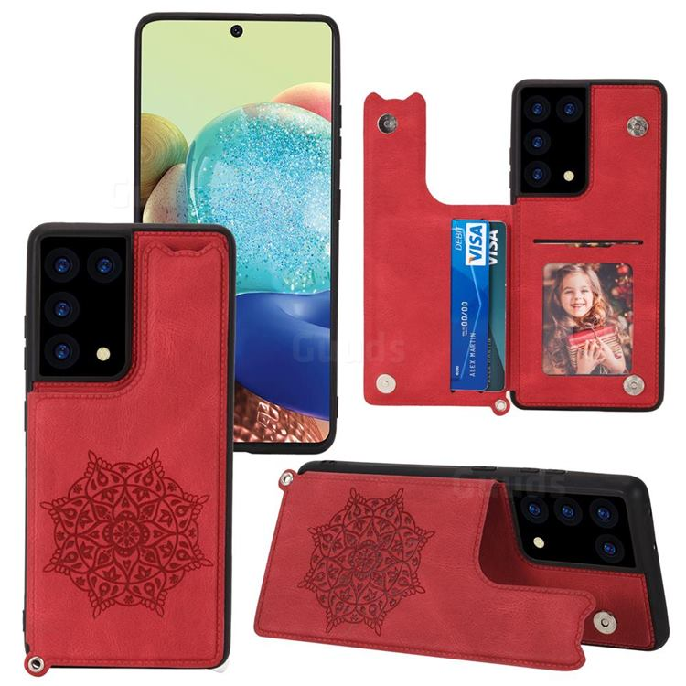 Luxury Mandala Multi-function Magnetic Card Slots Stand Leather Back Cover for Samsung Galaxy S21 Ultra - Red