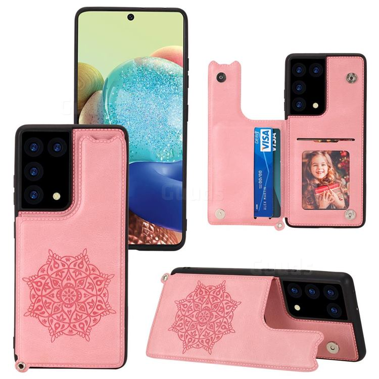 Luxury Mandala Multi-function Magnetic Card Slots Stand Leather Back Cover for Samsung Galaxy S21 Ultra - Rose Gold