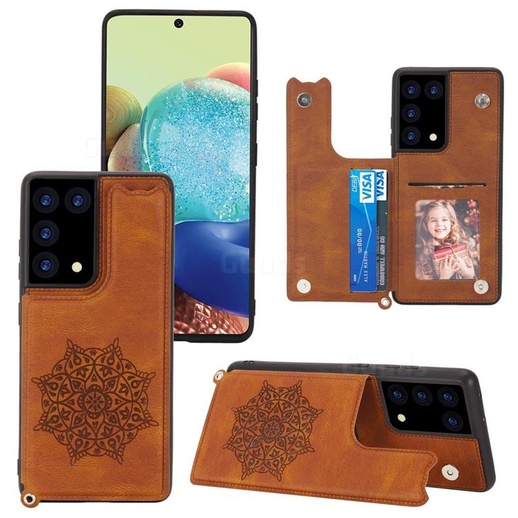 Luxury Mandala Multi-function Magnetic Card Slots Stand Leather Back Cover for Samsung Galaxy S21 Ultra - Brown