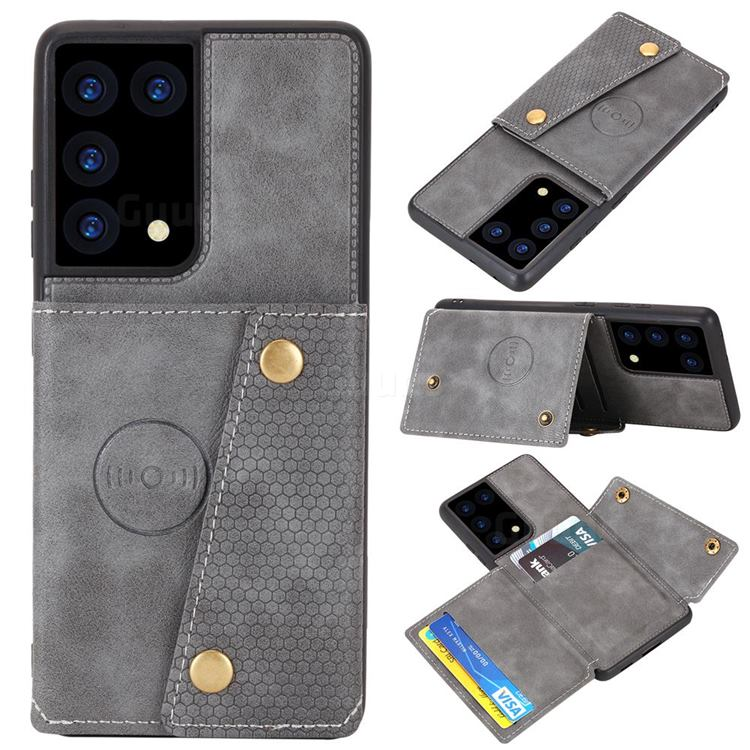 Retro Multifunction Card Slots Stand Leather Coated Phone Back Cover for Samsung Galaxy S21 Ultra - Gray
