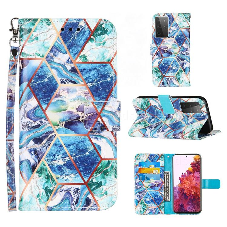 Green and Blue Stitching Color Marble Leather Wallet Case for Samsung Galaxy S21 Ultra