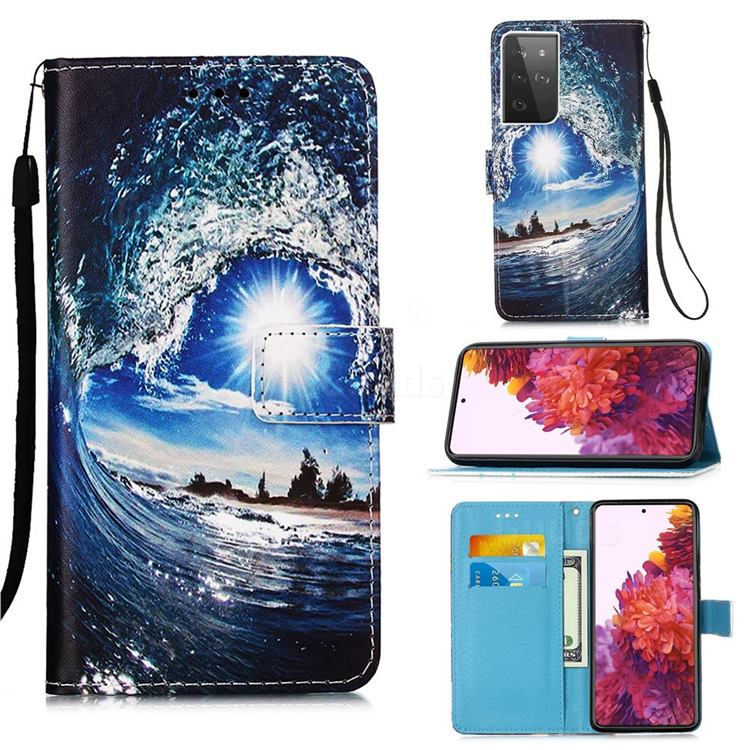 Waves and Sun Matte Leather Wallet Phone Case for Samsung Galaxy S21 Ultra