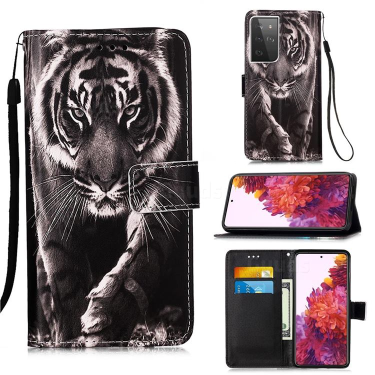 Black and White Tiger Matte Leather Wallet Phone Case for Samsung Galaxy S21 Ultra