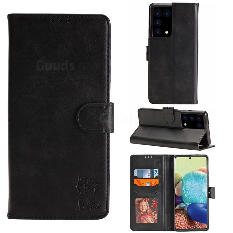 Embossing Happy Cat Leather Wallet Case for Samsung Galaxy S21 Ultra - Black