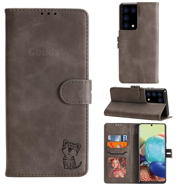 Embossing Happy Cat Leather Wallet Case for Samsung Galaxy S21 Ultra - Gray
