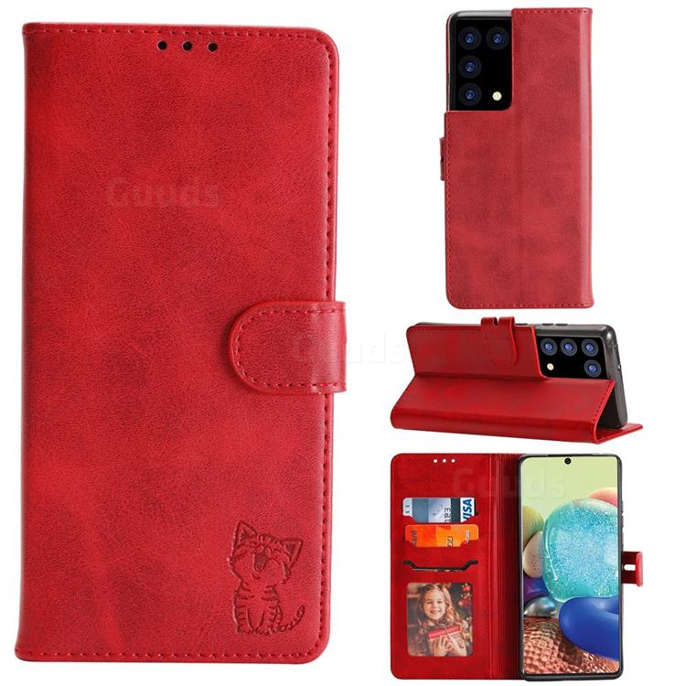 Embossing Happy Cat Leather Wallet Case for Samsung Galaxy S21 Ultra - Red