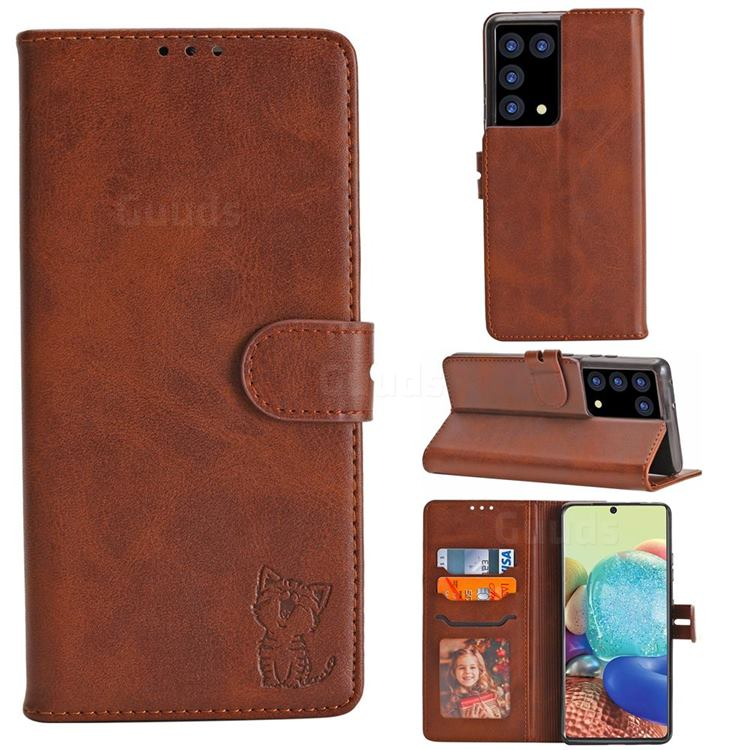 Embossing Happy Cat Leather Wallet Case for Samsung Galaxy S21 Ultra - Brown