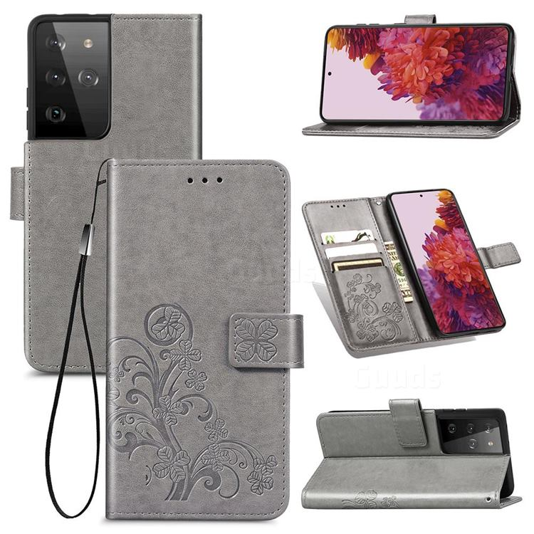 Embossing Imprint Four-Leaf Clover Leather Wallet Case for Samsung Galaxy S21 Ultra - Grey