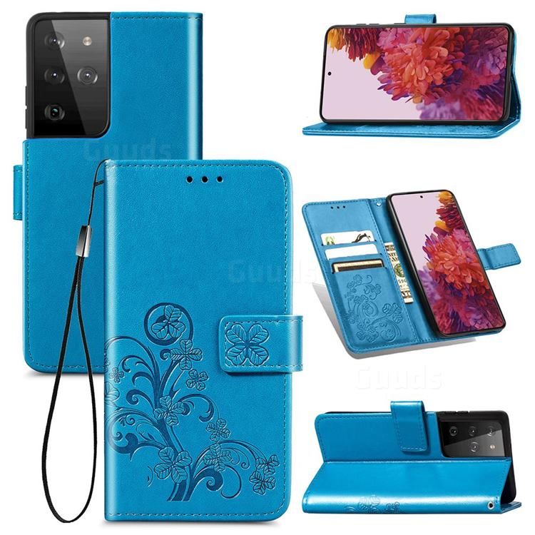 Embossing Imprint Four-Leaf Clover Leather Wallet Case for Samsung Galaxy S21 Ultra - Blue