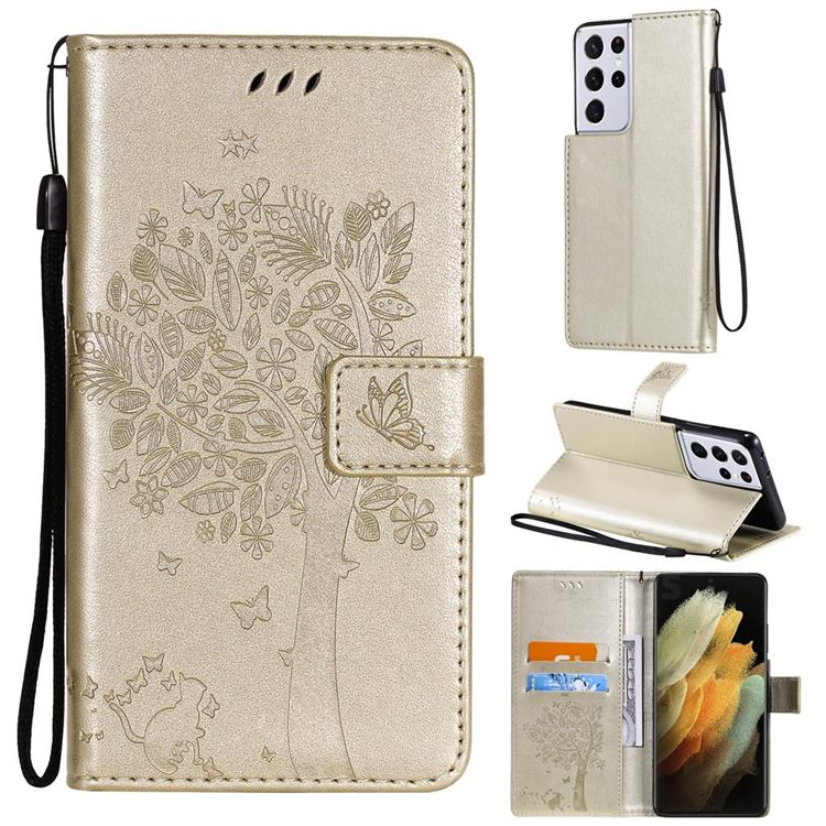 Embossing Butterfly Tree Leather Wallet Case for Samsung Galaxy S21 Ultra - Champagne