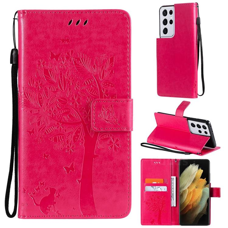 Embossing Butterfly Tree Leather Wallet Case for Samsung Galaxy S21 Ultra - Rose