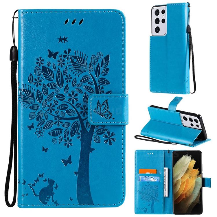 Embossing Butterfly Tree Leather Wallet Case for Samsung Galaxy S21 Ultra - Blue
