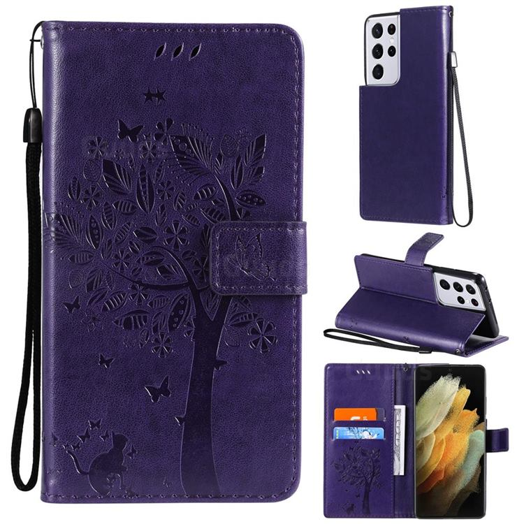 Embossing Butterfly Tree Leather Wallet Case for Samsung Galaxy S21 Ultra - Purple