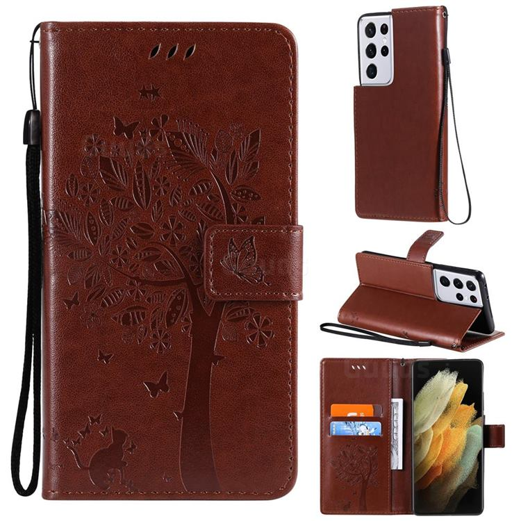 Embossing Butterfly Tree Leather Wallet Case for Samsung Galaxy S21 Ultra - Coffee
