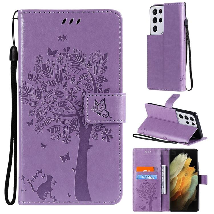 Embossing Butterfly Tree Leather Wallet Case for Samsung Galaxy S21 Ultra - Violet