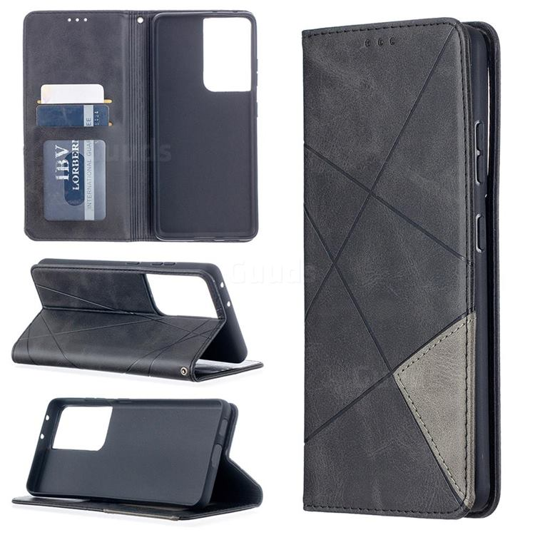 Prismatic Slim Magnetic Sucking Stitching Wallet Flip Cover for Samsung Galaxy S21 Ultra - Black
