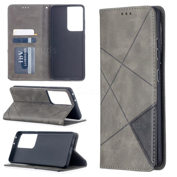 Prismatic Slim Magnetic Sucking Stitching Wallet Flip Cover for Samsung Galaxy S21 Ultra - Gray