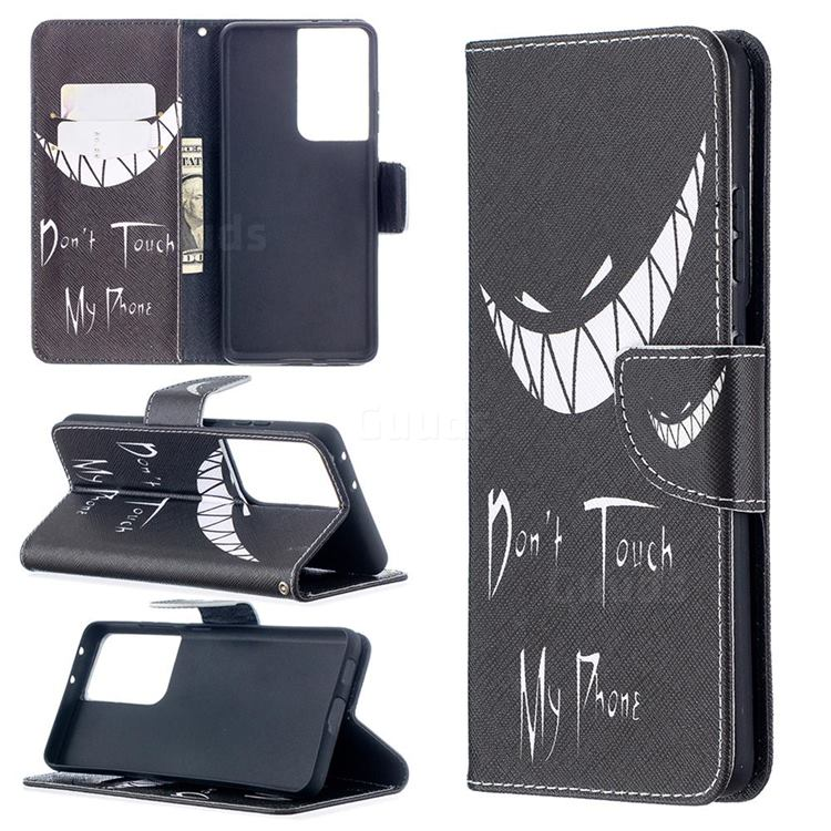 Crooked Grin Leather Wallet Case for Samsung Galaxy S21 Ultra
