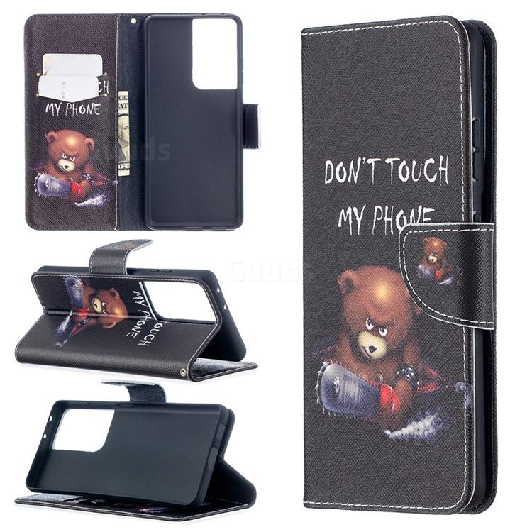 Chainsaw Bear Leather Wallet Case for Samsung Galaxy S21 Ultra