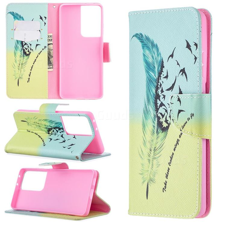 Feather Bird Leather Wallet Case for Samsung Galaxy S21 Ultra