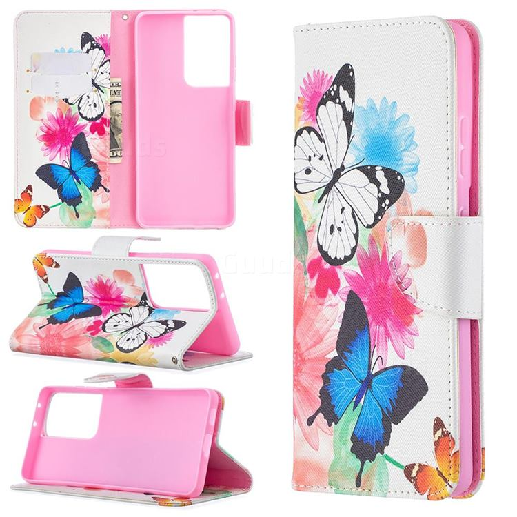 Vivid Flying Butterflies Leather Wallet Case for Samsung Galaxy S21 Ultra