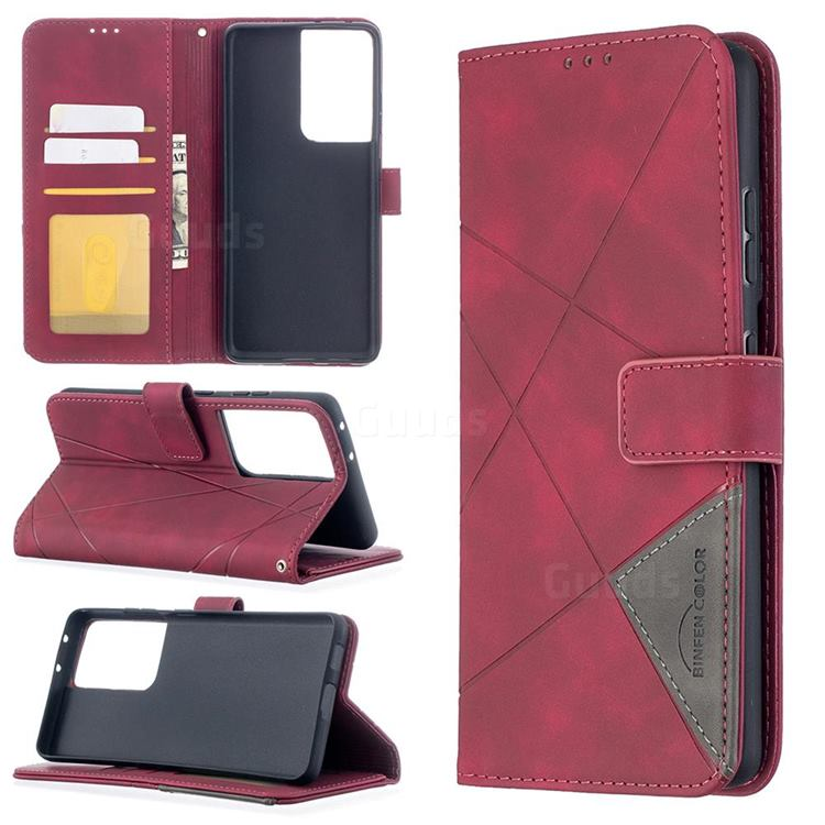 Binfen Color BF05 Prismatic Slim Wallet Flip Cover for Samsung Galaxy S21 Ultra - Red