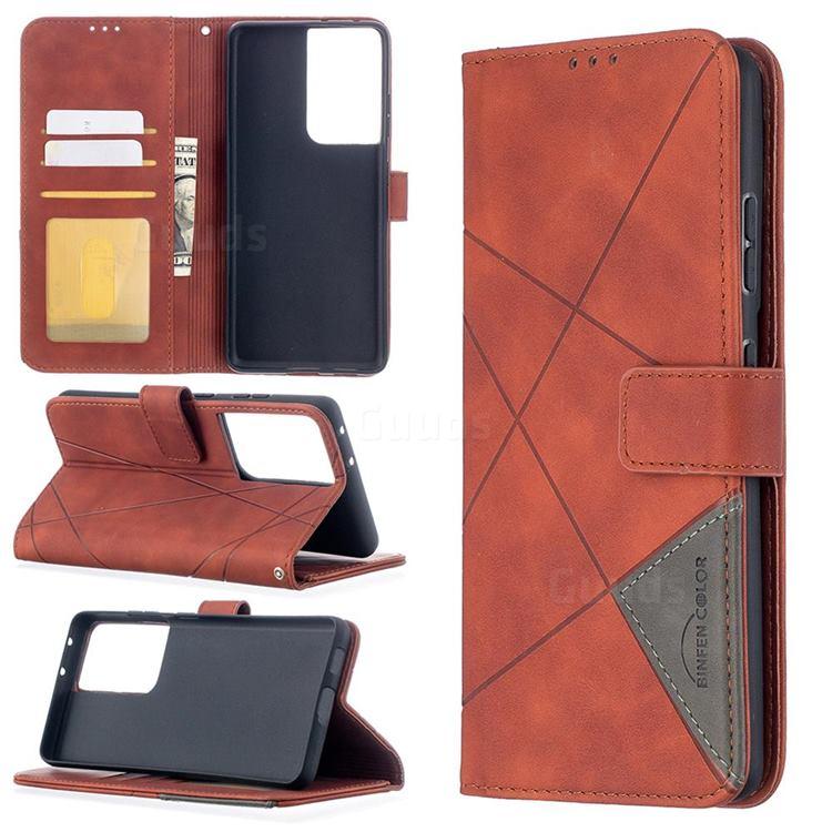 Binfen Color BF05 Prismatic Slim Wallet Flip Cover for Samsung Galaxy S21 Ultra - Brown