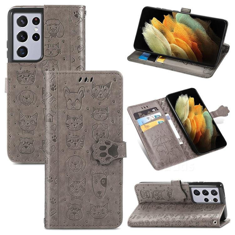Embossing Dog Paw Kitten and Puppy Leather Wallet Case for Samsung Galaxy S21 Ultra - Gray