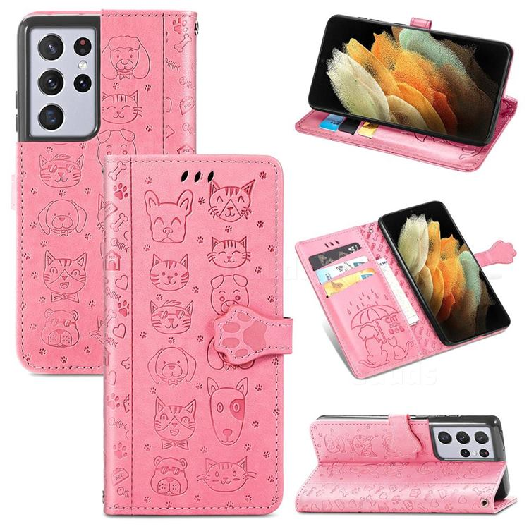 Embossing Dog Paw Kitten and Puppy Leather Wallet Case for Samsung Galaxy S21 Ultra - Pink