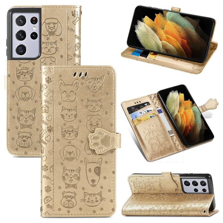 Embossing Dog Paw Kitten and Puppy Leather Wallet Case for Samsung Galaxy S21 Ultra - Champagne Gold
