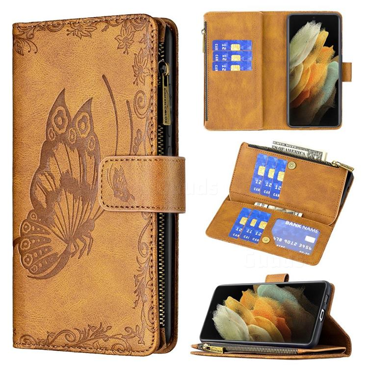 Binfen Color Imprint Vivid Butterfly Buckle Zipper Multi-function Leather Phone Wallet for Samsung Galaxy S21 Ultra - Brown