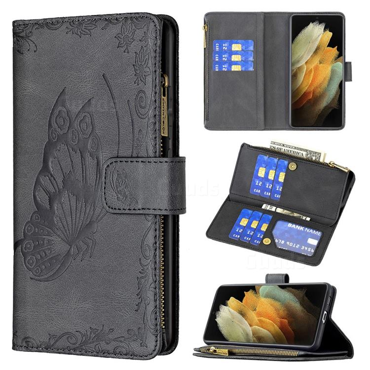 Binfen Color Imprint Vivid Butterfly Buckle Zipper Multi-function Leather Phone Wallet for Samsung Galaxy S21 Ultra - Black