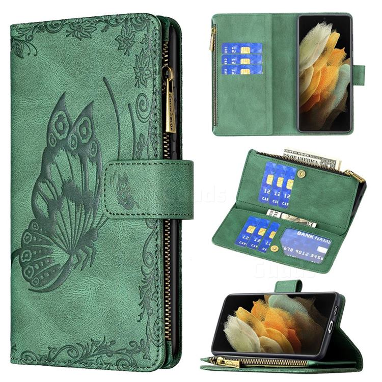 Binfen Color Imprint Vivid Butterfly Buckle Zipper Multi-function Leather Phone Wallet for Samsung Galaxy S21 Ultra - Green