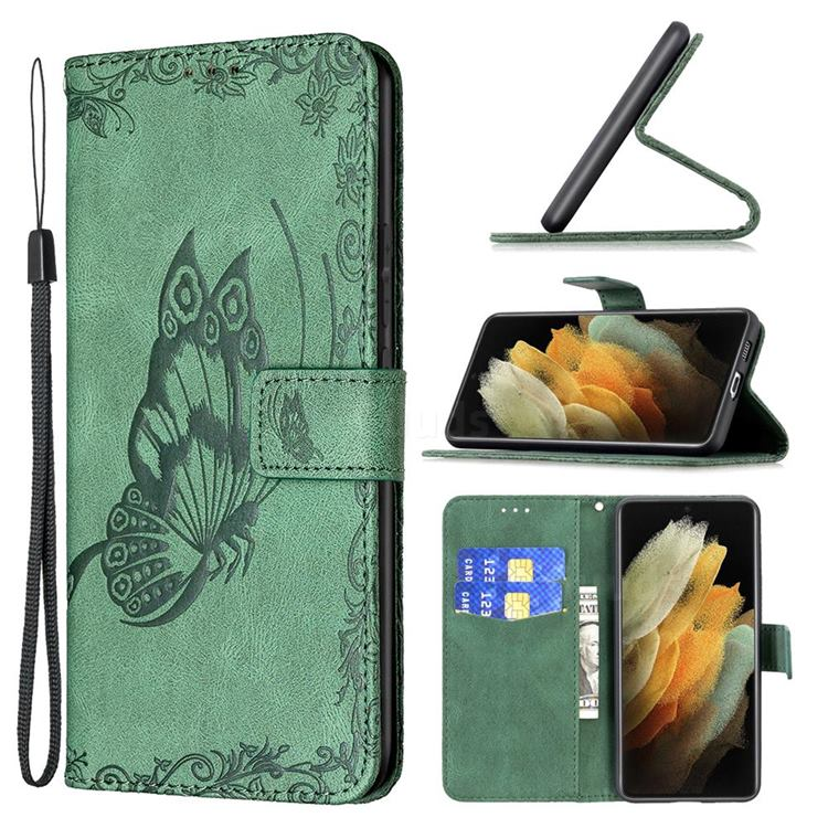 Binfen Color Imprint Vivid Butterfly Leather Wallet Case for Samsung Galaxy S21 Ultra - Green