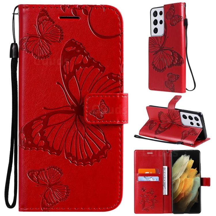Embossing 3D Butterfly Leather Wallet Case for Samsung Galaxy S21 Ultra - Red