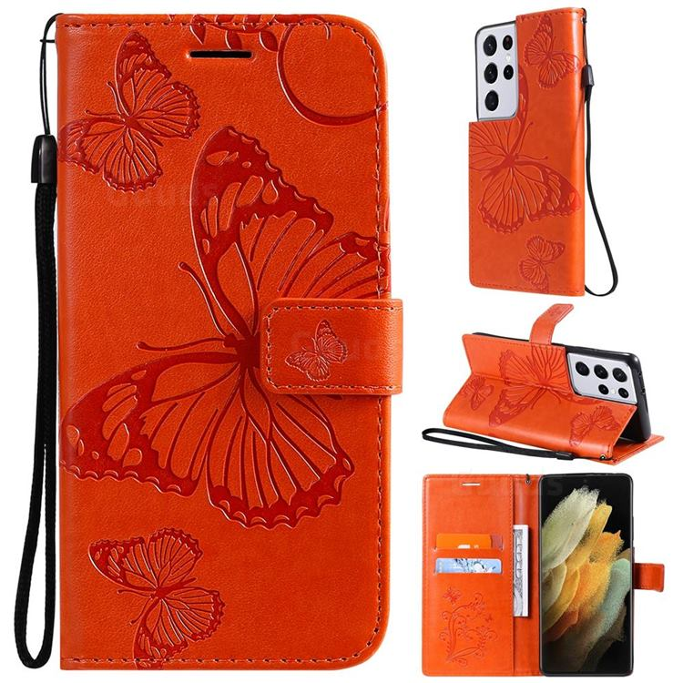 Embossing 3D Butterfly Leather Wallet Case for Samsung Galaxy S21 Ultra - Orange