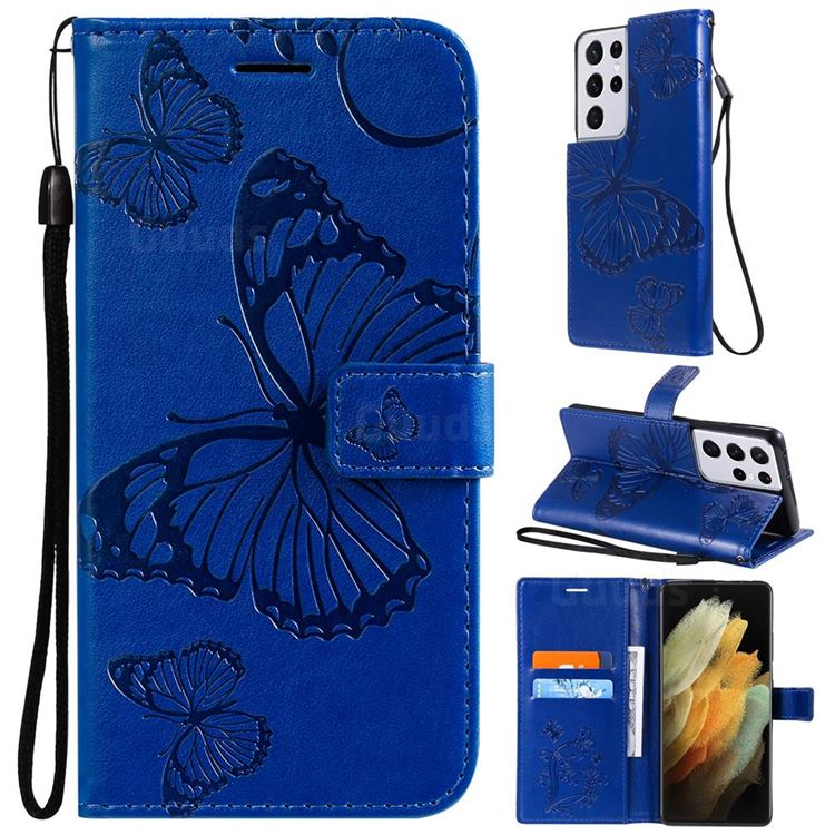 Embossing 3D Butterfly Leather Wallet Case for Samsung Galaxy S21 Ultra - Blue