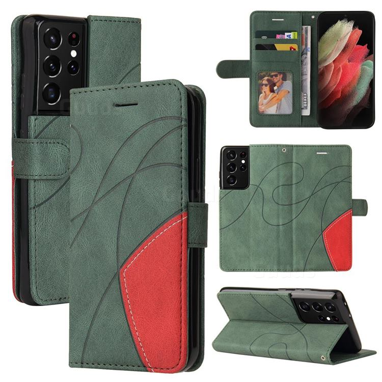 Luxury Two-color Stitching Leather Wallet Case Cover for Samsung Galaxy S21 Ultra - Green