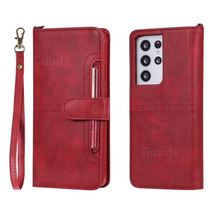 Retro Multi-functional Detachable Leather Wallet Phone Case for Samsung Galaxy S21 Ultra - Red