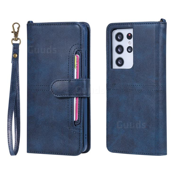 Retro Multi-functional Detachable Leather Wallet Phone Case for Samsung Galaxy S21 Ultra - Blue