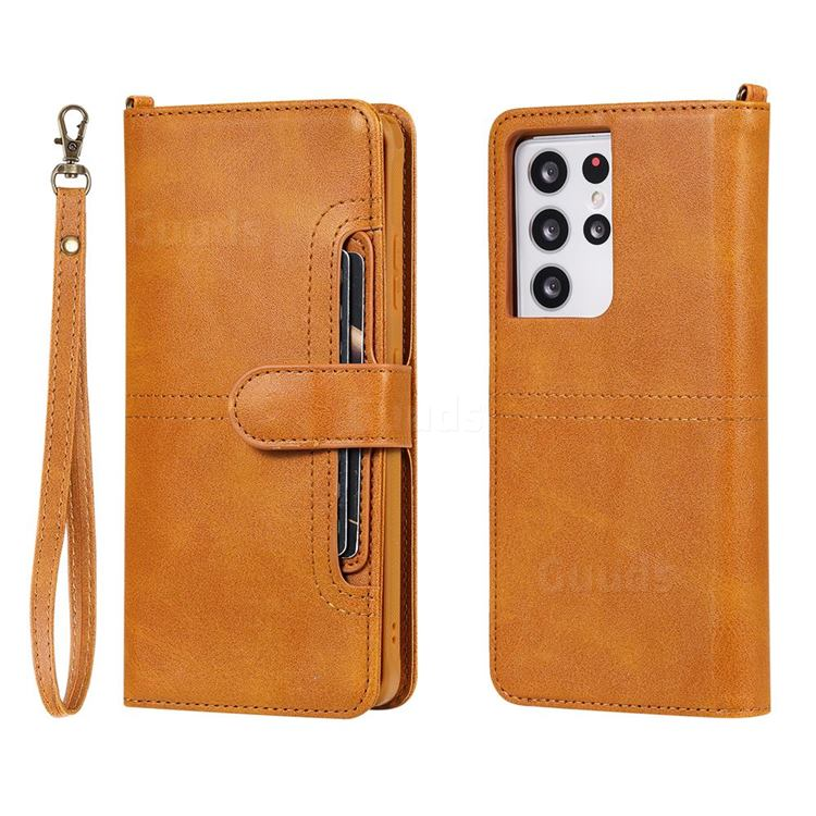 Retro Multi-functional Detachable Leather Wallet Phone Case for Samsung Galaxy S21 Ultra - Brown