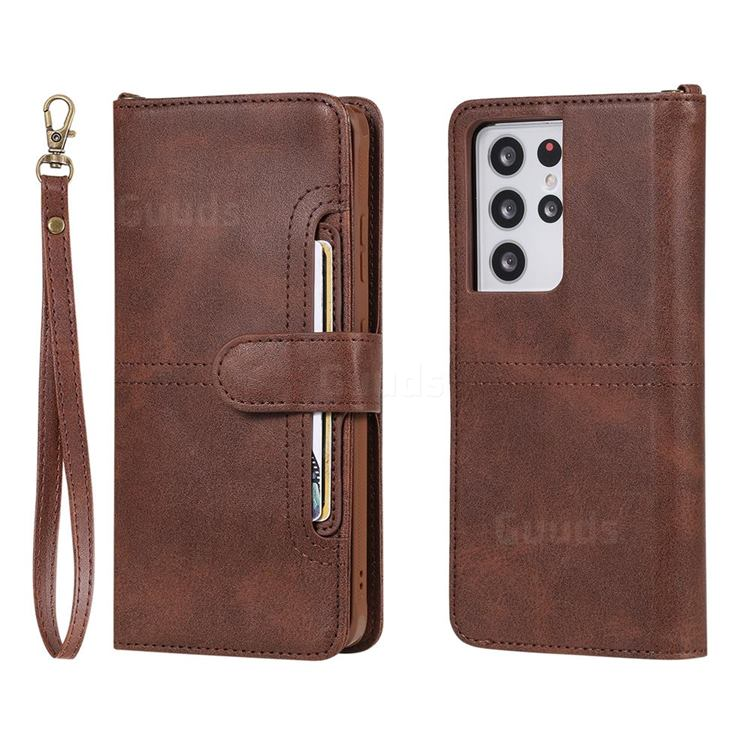 Retro Multi-functional Detachable Leather Wallet Phone Case for Samsung Galaxy S21 Ultra - Coffee
