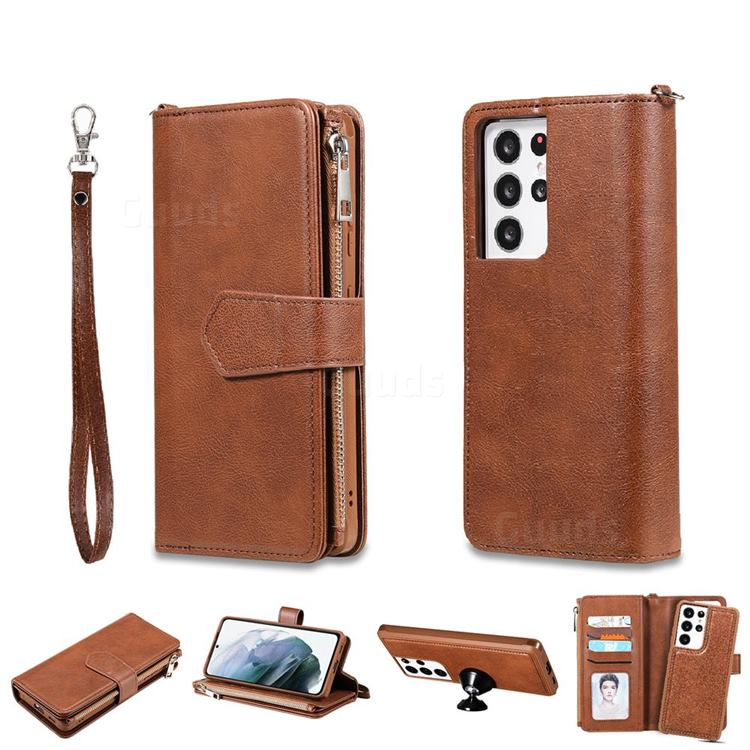 Retro Luxury Multifunction Zipper Leather Phone Wallet for Samsung Galaxy S21 Ultra - Brown