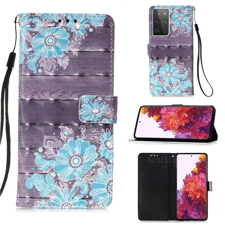 Blue Flower 3D Painted Leather Wallet Case for Samsung Galaxy S21 Ultra