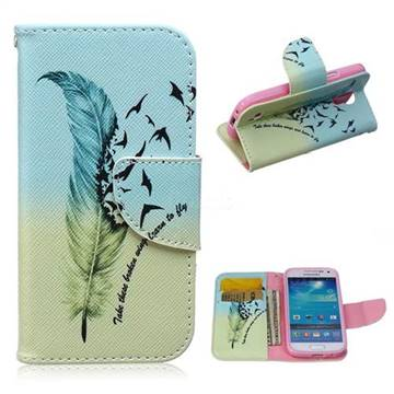 Feather Bird Leather Wallet Case for Samsung Galaxy S4 mini i9190 I9192 I9195