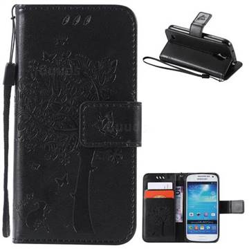 Embossing Butterfly Tree Leather Wallet Case for Samsung Galaxy S4 Mini - Black