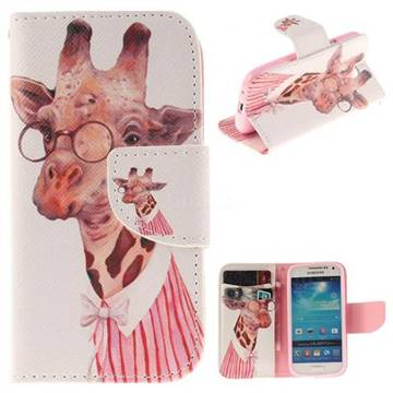 Pink Giraffe PU Leather Wallet Case for Samsung Galaxy S4 Mini i9190