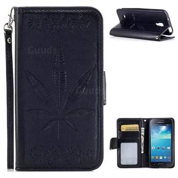 Intricate Embossing Maple Leather Wallet Case for Samsung Galaxy S4 Mini i9190 - Black
