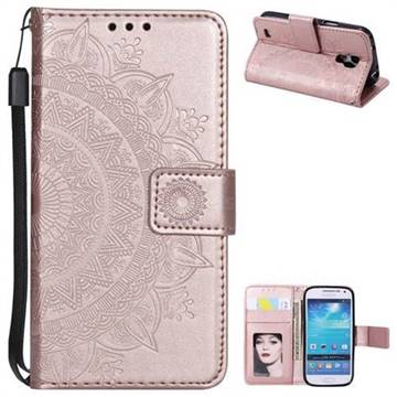 Intricate Embossing Datura Leather Wallet Case for Samsung Galaxy S4 Mini i9190 - Rose Gold